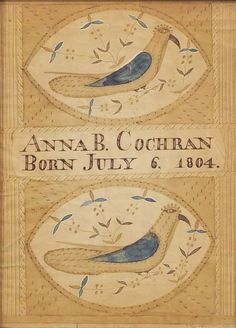 Attributed to Moses Connor, Jr. (New Hampshire, active 1800-1832) Birth Record: Anna B. Cochran Born July 6, 1804. Unsigned. Watercolor and ink on paper