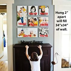 Creating a photo collage wall in your home. <--- From the Canvas Press Blog
