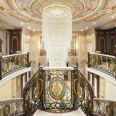 Royal Villa Interior Design in Kuwait Interior Design Companies, Luxury Interior Design, Interior Design Living Room, Living Room Designs, Luxury Homes Interior, Luxury Home Decor, Interior Architecture, Hall Design, Grand Staircase