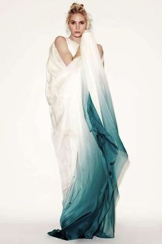 dip-dye teal wedding dress from Dawid Tomaszewski AW11