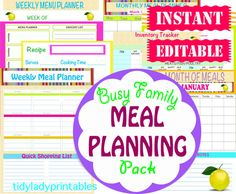 INSTANT Download - Menu Planner Printables -  Meal Planning Organization - Home Management Binder - 29 Docuements