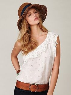 Free People Ruffled Eyelet One Shoulder at Free People Clothing Boutique - StyleSays