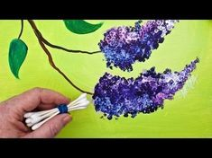 LILACS cotton swab painting technique for BEGINNERS EASY acrylic painting - flower craft decoration Simple Acrylic Paintings, Acrylic Painting Techniques, Painting Lessons, Acrylic Painting Canvas, Art Lessons, Watercolor Paintings, Canvas Art, Diy Painting, Painting Abstract