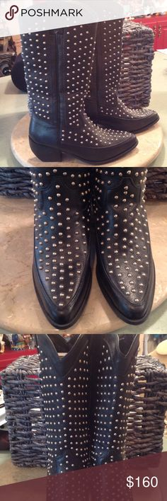 EUC leather all studded boots This is a hot boot! They have 2 1/2in heels. Black leather with silver studs all the way up. They have no studs loose or missing. Only a small bit of wear on bottom . No scuffs.  Don't miss out on these!! Never seen before.  These were made in Brazil. Dingo Shoes Heeled Boots