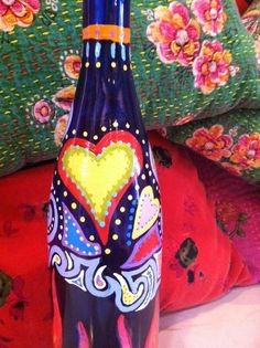 Recycled painted wine bottle for cooking oil by maddogsister, $40.00