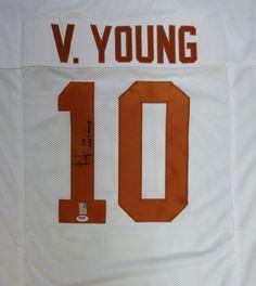 "Vince Young Autographed Texas Longhorns White Jersey """"05 Nat'l Champs"""" PSA/DNA"