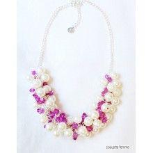 Colier AwesomePearl - Fucsia Jewelry Collection, Crochet Necklace, Style, Fashion, Moda, Crochet Collar, La Mode, Fasion, Fashion Models