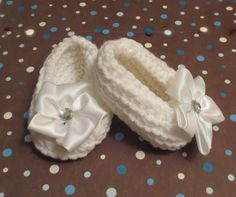 Adorable White Baby Booties Christening Satin by simplyyarn27