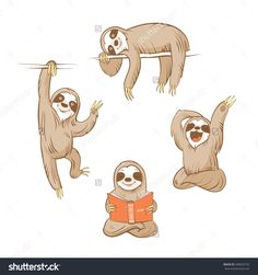 cute baby sloth illustration - Google Search                                                                                                                                                                                 More