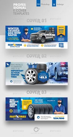 Buy Auto Tires Cover Bundle Templates by grafilker on GraphicRiver. Auto Tires Cover Bundle Templates Fully layered INDD Fully layered PSD 300 Dpi, CMYK IDML format open Indesign or. Facebook Cover Design, Facebook Cover Template, Facebook Timeline Covers, Web Design, Web Banner Design, Social Media Banner, Social Media Design, Cover Photo Design, Banner Design Inspiration