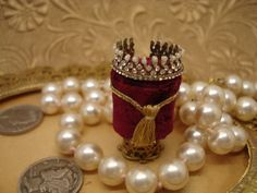 Miniature 112 scale Jewelled Tiara on a by heirloomsbysusanh