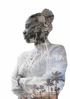 Double exposure of Durban City, art and Portia Nokuthula Dahlia Malunga-Rowling. Double Exposure, Dahlia, Cool Photos, Art Photography, Lion Sculpture, Victorian, Statue, City, Fine Art Photography