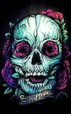 Skull art by Dan Mumford. Wallpaper Caveira, Dan Mumford, Badass Skulls, Skulls And Roses, Stay Gold, Skull Tattoos, Skull Art, Gold Skull, Memento Mori