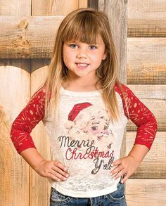 Girls Merry Christmas Y'all Tee Shirt Raglan Top gifts under 20 dollars - Stocking Stuffer -  #stockingstuffer #giftideas #christmasgiftideas Christmas gift idea under $20
