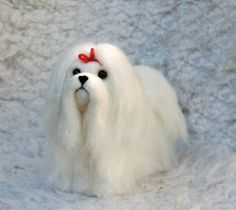 Needle Felted Long Haired Maltese Dog  READY TO SHIP by willane, $48.00
