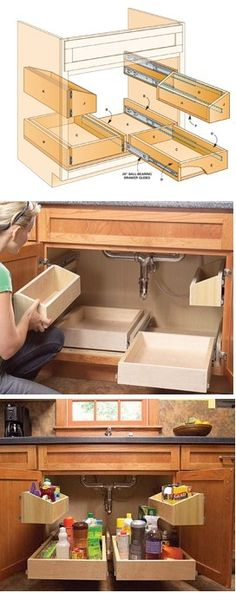 to Build Kitchen Sink Storage Trays DIY Slide Out Drawers ~ This should be done in every kitchen.DIY Slide Out Drawers ~ This should be done in every kitchen. Kitchen Sink Storage, Kitchen Organization, Kitchen Sinks, Room Kitchen, Kitchen Drawers, Diy Kitchen, Decorating Kitchen, Ikea Under Sink Storage, Kitchen Interior