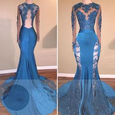 c97dcae1bbc 49%OFF Trumpet Mermaid Long Sleeves Backless Beading Prom Dresses 2018 Open  Back Sexy