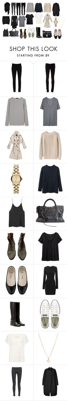 """""""Basics for 5 piece french wardrobe"""" by trenchcoatandcoffee ❤ liked on Polyvore featuring Warehouse, J Brand, Saint James, James Perse, T By Alexander Wang, Giada Forte, Marc by Marc Jacobs, Steven Alan, CÉLINE and Isabel Marant"""