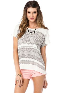 ShopSosie Style : Lace Print Tee