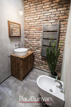 Amazing photo look at our piece for a lot more inspiring ideas! Amazing photo look at our piece for a lot more inspiring ideas! Amazing photo look at our piece for a lot more inspiring ideas! Amazing photo look at our piece for a lot more inspiring ideas! Brick Bathroom, Small Bathroom, Brick Tile Wall, Boho Bathroom, Industrial Bathroom, Downstairs Bathroom, Bathroom Cabinets, Modern Bathroom, Bad Inspiration