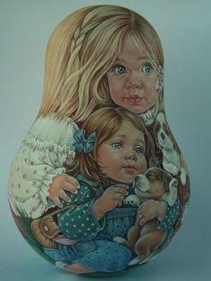 Author's 1 kind russian roly poly nesting matryoshkas dolls Artist Usachova | eBay