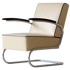 Bauhaus tubular steel lounge chair | From a unique collection of antique and modern armchairs at https://www.1stdibs.com/furniture/seating/armchairs/