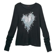 mark. By Avon Love Bites Tee. The graffiti heart graphic meets trendy thumbholes for a tough-girl tee with a soft side.