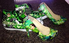 Green Lantern Comic Book Wedding Shoes Comic Book Wedding, Wedding Book, Green Lantern Comics, Wedding Shoes, Comic Books, Heels, Fashion, Comic Wedding, Bhs Wedding Shoes