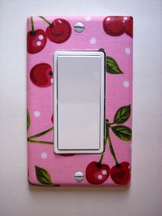 Pink Cherry Rocker / GFI Switchplate by PopGoesTheColor on Etsy.