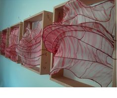 Gretchen Bettes - Shibori hand-dyed silk gauze and copper wire Wall Sculptures, Sculpture Art, Fabric Structure, Wire Art, Textiles, Medium Art, Artist Art, Installation Art, Mixed Media Art