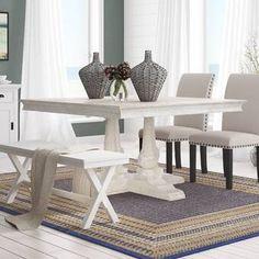Ophelia & Co. Sinead Dining Table & Reviews | Wayfair Trestle Dining Tables, Counter Height Dining Table, Pedestal Dining Table, Solid Wood Dining Table, Extendable Dining Table, Dining Table In Kitchen, Table And Chairs, Dining Room, Transitional Dining Tables