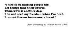 Democracy, Langston Hughes