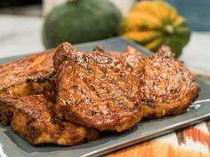Katie's Grilled Pumpkin BBQ-Glazed Pork Chops Recipe from Food Network's The Kitchen. Pork Rib Recipes, Grilling Recipes, Cooking Recipes, Kitchen Recipes, Lamb Recipes, Grilling Ideas, Barbecue Recipes, Glazed Pork Chops, Pork Loin
