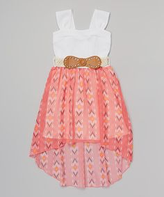 Look what I found on #zulily! Coral Western Belted Dress - Girls by Just Kids #zulilyfinds