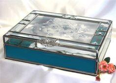 Stained Glass Wedding Invitation Keepsake Box for a 5 x 7 invitation via Etsy
