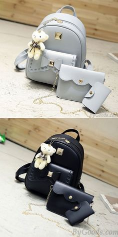 dd5761f7cd Cute Gray Pink Splicing Bowknot College Bag Bear Pendant PU Bow School  Backpacks only  34.99 -ByGoods.com