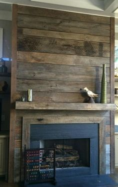 Image result for wood plank fireplace