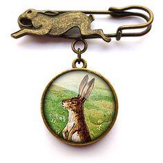 Ruby Spirit Designs - Vintage Hare Pin Brooch (ER08)
