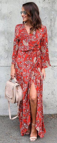 Bohemia Floral Print Tie Waist Long Sleeve Maxi Dress. Bohemian summer dresses. Boho dresses. Beach fashion & Bohem style.    Boho fashion. Bohemian style. Gypsy style.  #boho #bohemian #gypsy  #bohoclothing #bohemianclothing #affiliate #vintage  #bohochic #bohostyle #hippiestyle #hippie #beachfashion #bohemiandress  #bohodress