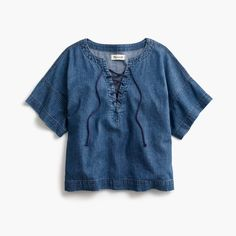madewell denim lace-up top Fall Outfits, Cute Outfits, Fashion Outfits, Boho Fashion, Mode Top, Style Grunge, Denim And Lace, Vogue, Look At You