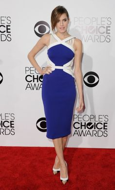 Allison Williams stunned in a blue David Coma dress at People's Choice Awards 2014. #Style #Hollywood #Fashion #Beauty