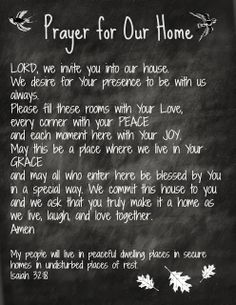 Creating A Life: Prayer for Our Home