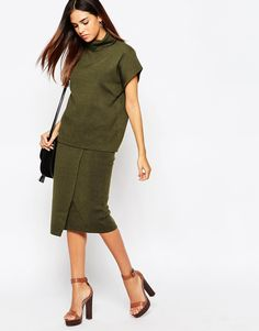 Warehouse Wrap Tie Skirt Co-Ord