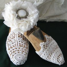 Vintage Shoe Last Decorated with Doily and by stringandscissors, $45.00