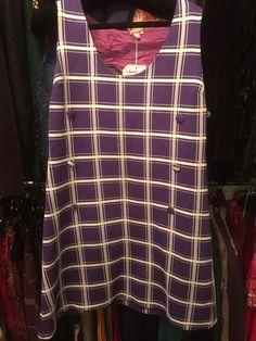 ��������Ladies Vintage 1960s Mod Crimplene Purple White Check Shift Dress 40  M5