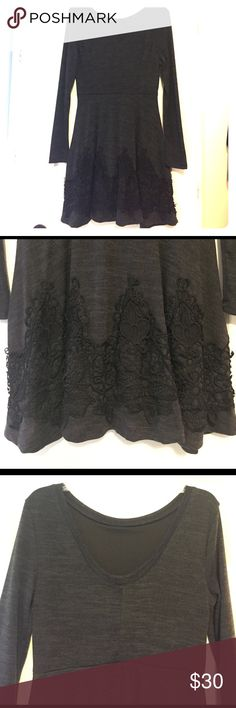 Charcoal Dress w/ Black Lace This dress is charcoal grey with a black lace design on the bottom of the skirt. The back of the dress is V-shaped at the top. Purchased from Altar'd State, size Large, hits right at the knee. Comfortable and flowy! Altar'd State Dresses
