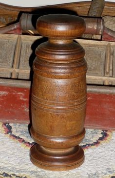 "c. 1890 Wooden Spice Nutmeg Grinder / Grater from ohiosattic on Ruby Lane Here's a wonderful treenware spice grinder from my personal collection. It's large, standing 6 7/8"" H. x 2 1/2"" bottom D. It has a ""pestle"" type cap which has a tin grater attached, with a corresponding grater piece in the grinder's body, and is in excellent and usable condition. It shows a nice old nut-brown patina and good wear. No cracks, 3 shallow (old) chips seen in photo 3."