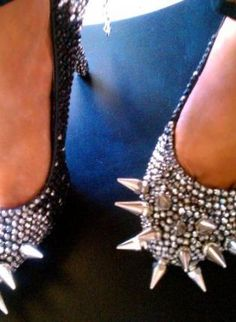 RHINESTONE SPIKE HEELS BLACK/SILVER,  Shoes, rhinestones spikes heels unique hott, Chic