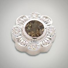 6.00 mm Round Quartz Smokey accented with CZ's set in Sterling Silver Slide. All Sterling Silver is Rhodium plated. Metal:Sterling Silver Designer:Goldman-Kolber $ 140.00 Item #: VTKDW4 Call 870-863-8818 for personal consultation.