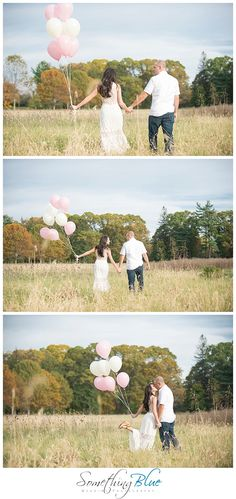 rustic engagement session in an open field with balloons. Photo by Something Blue Wedding Photography